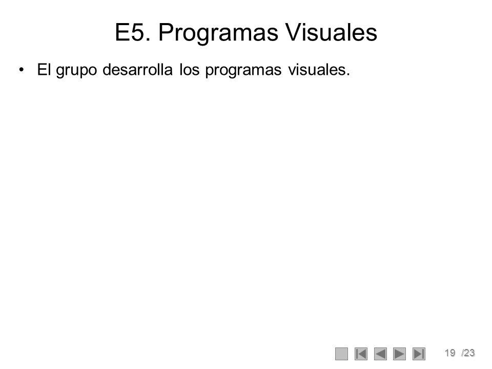 E5. Programas Visuales El grupo desarrolla los programas visuales.