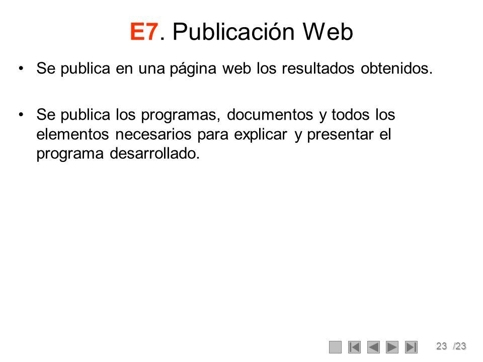 E7. Publicación Web Se publica en una página web los resultados obtenidos.