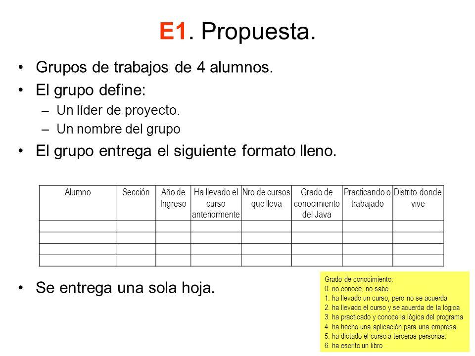 E1. Propuesta. Grupos de trabajos de 4 alumnos. El grupo define: