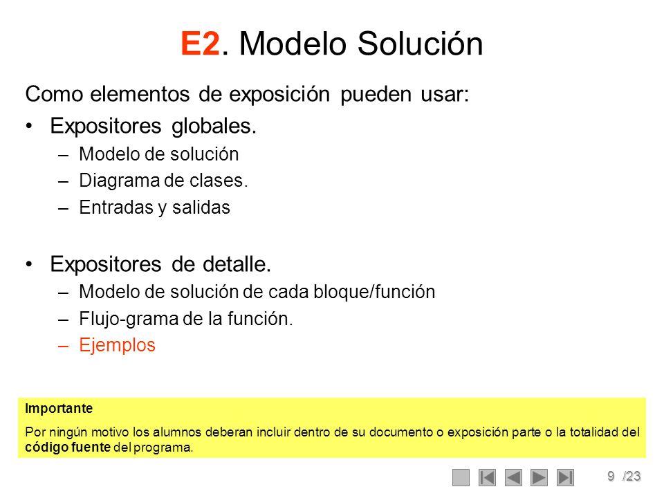 E2. Modelo Solución Como elementos de exposición pueden usar: