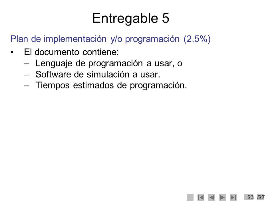 Entregable 5 Plan de implementación y/o programación (2.5%)