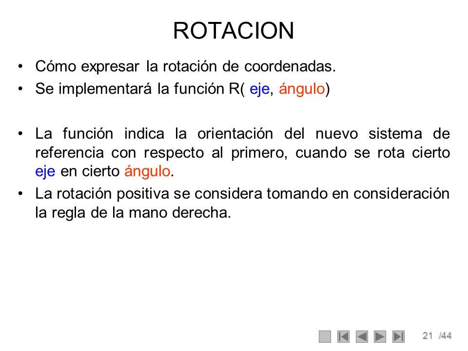 ROTACION Cómo expresar la rotación de coordenadas.