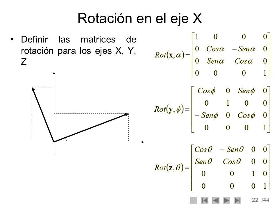 Rotación en el eje X Definir las matrices de rotación para los ejes X, Y, Z