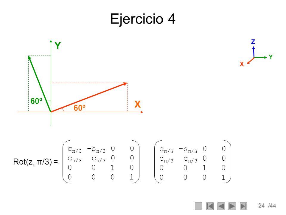 Ejercicio 4 Y X 60º 60º cπ/3 -sπ/3 0 0 cπ/3 cπ/3 0 0 0 0 1 0 0 0 0 1