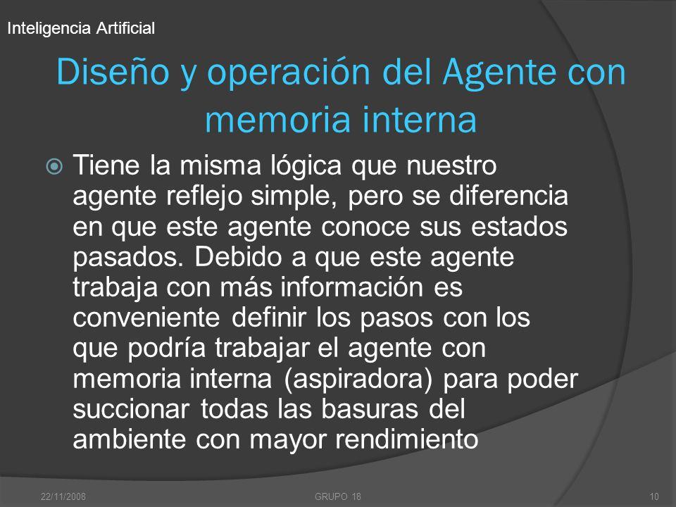 Diseño y operación del Agente con memoria interna