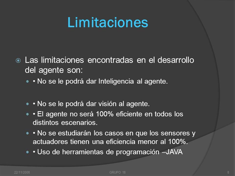 Limitaciones Las limitaciones encontradas en el desarrollo del agente son: • No se le podrá dar Inteligencia al agente.