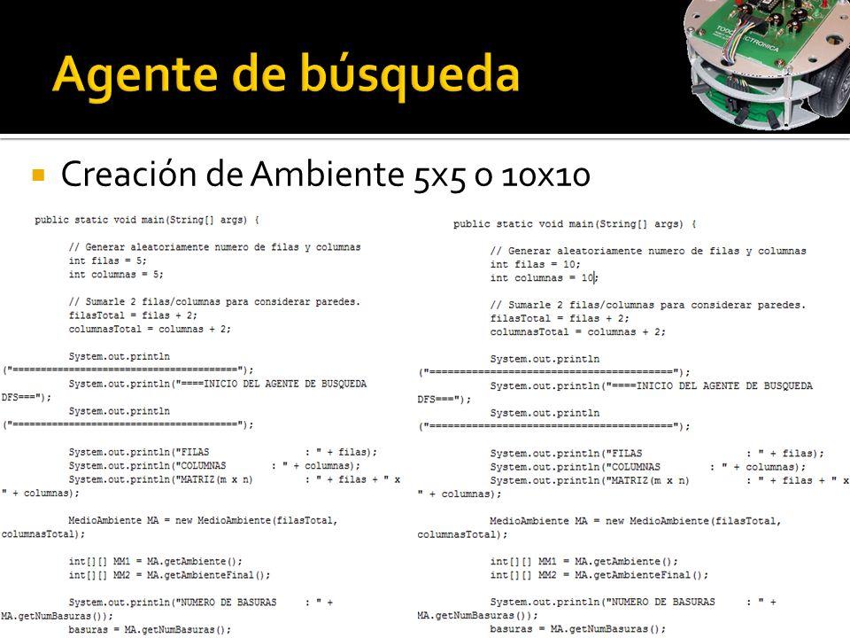 Agente de búsqueda Creación de Ambiente 5x5 o 10x10