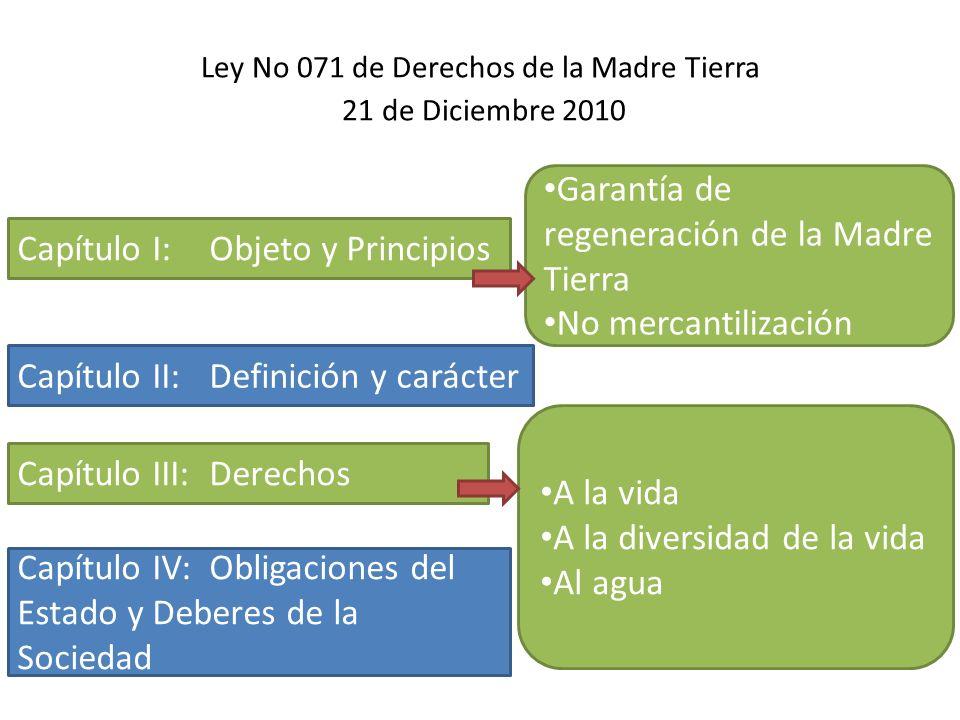 Ley No 071 de Derechos de la Madre Tierra 21 de Diciembre 2010
