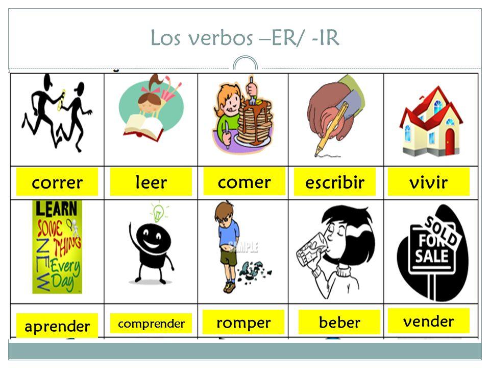 Los verbos -ER/-IR definiciones Los verbos -ER/-IR