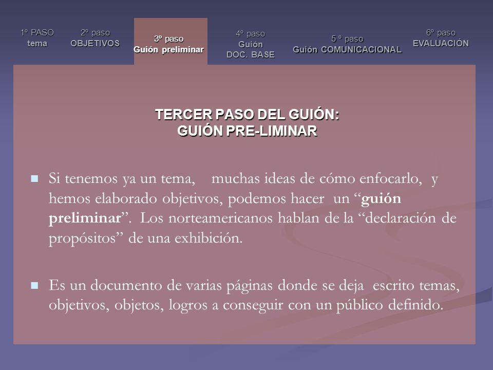 TERCER PASO DEL GUIÓN: GUIÓN PRE-LIMINAR