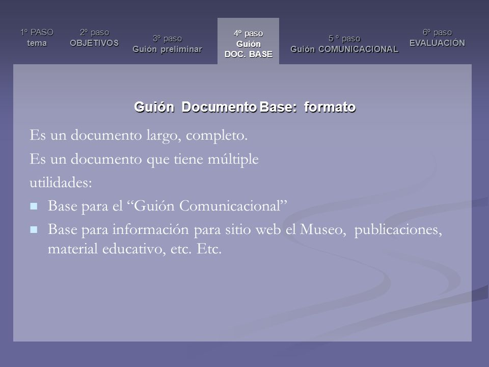 Guión Documento Base: formato