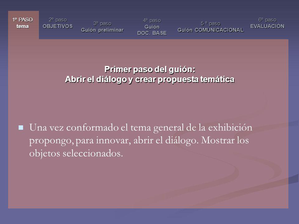 Primer paso del guión: Abrir el diálogo y crear propuesta temática