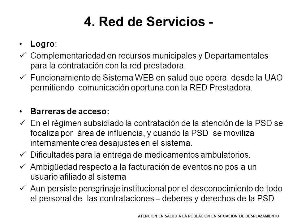 4. Red de Servicios - Logro: