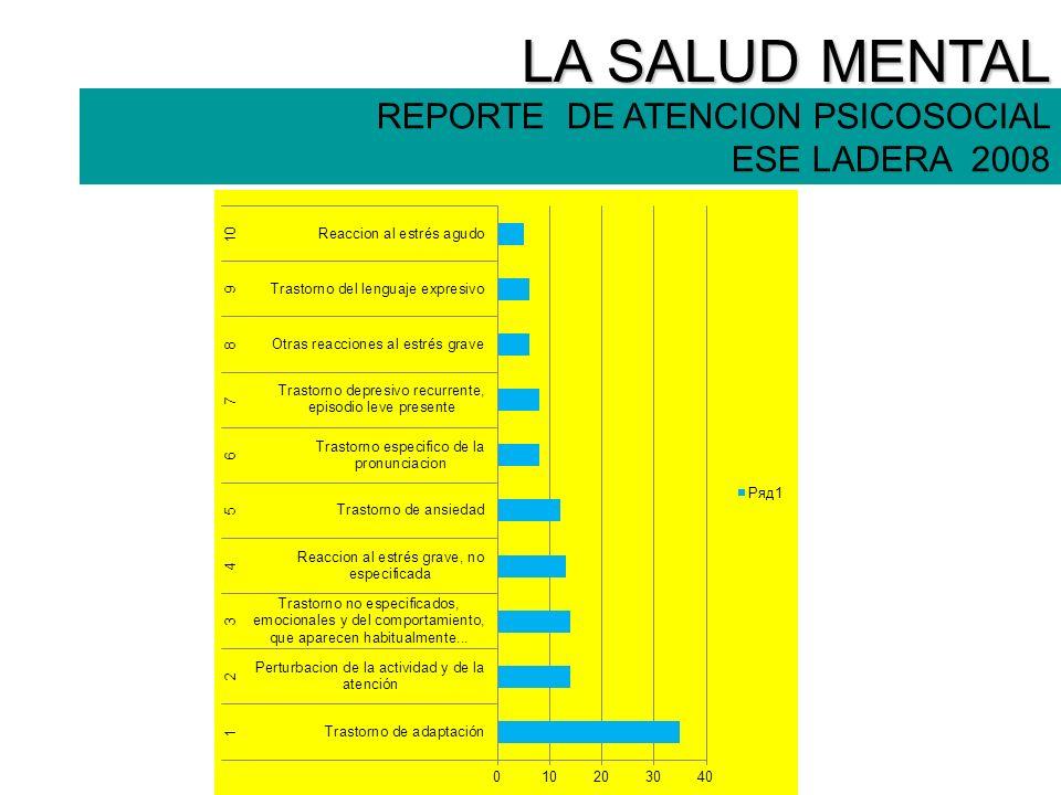 LA SALUD MENTAL REPORTE DE ATENCION PSICOSOCIAL ESE LADERA 2008