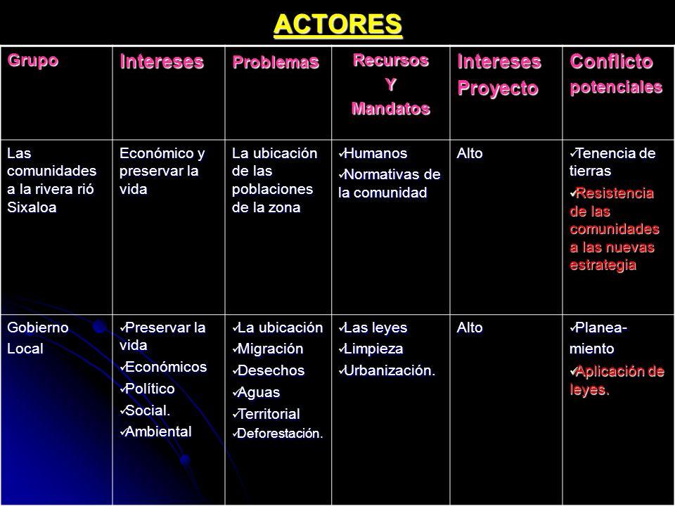 ACTORES Intereses Proyecto Conflicto Grupo Problemas Recursos Y