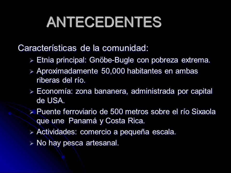 ANTECEDENTES Características de la comunidad: