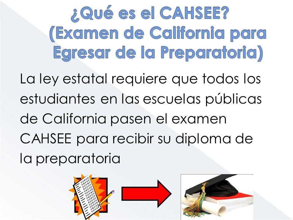 ¿Qué es el CAHSEE (Examen de California para Egresar de la Preparatoria)