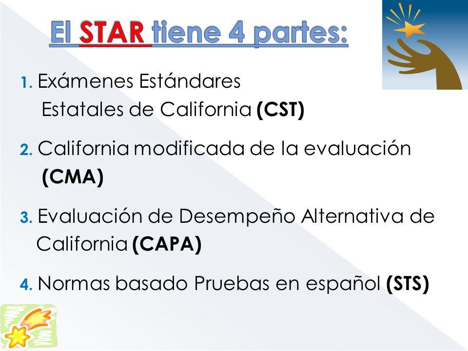 El STAR tiene 4 partes: Estatales de California (CST) (CMA)