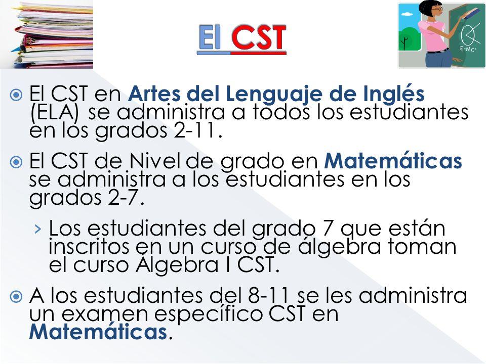 El CST El CST en Artes del Lenguaje de Inglés (ELA) se administra a todos los estudiantes en los grados 2-11.