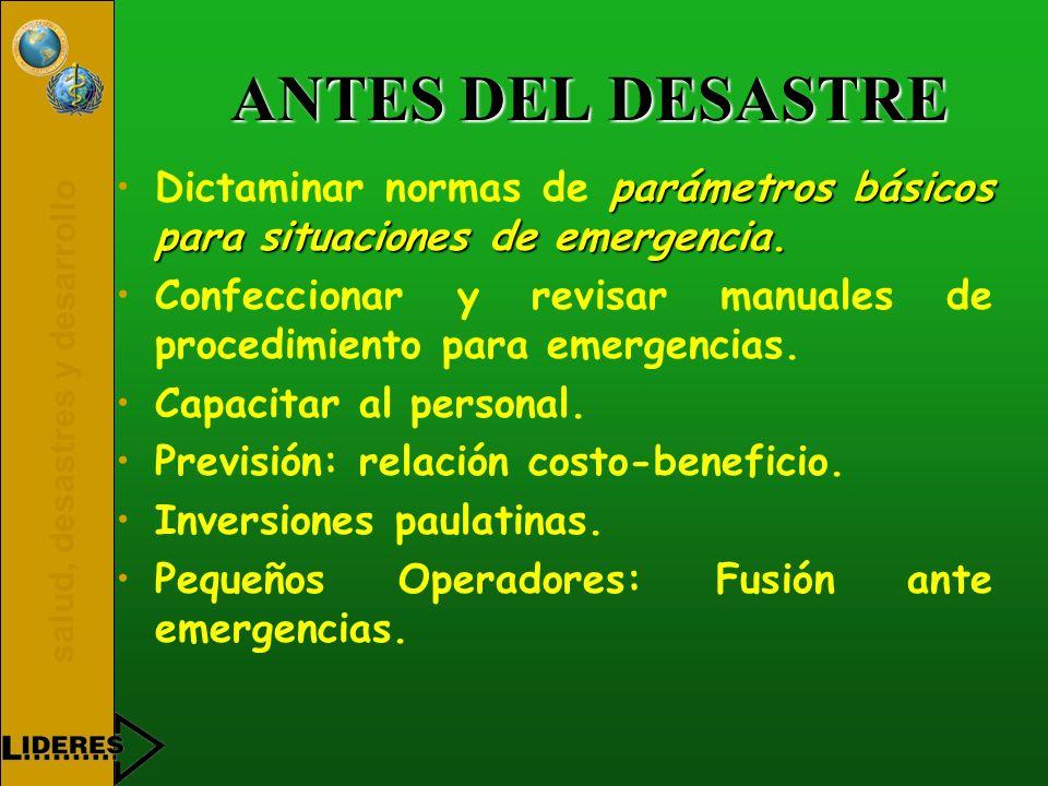 ANTES DEL DESASTRE Dictaminar normas de parámetros básicos para situaciones de emergencia.