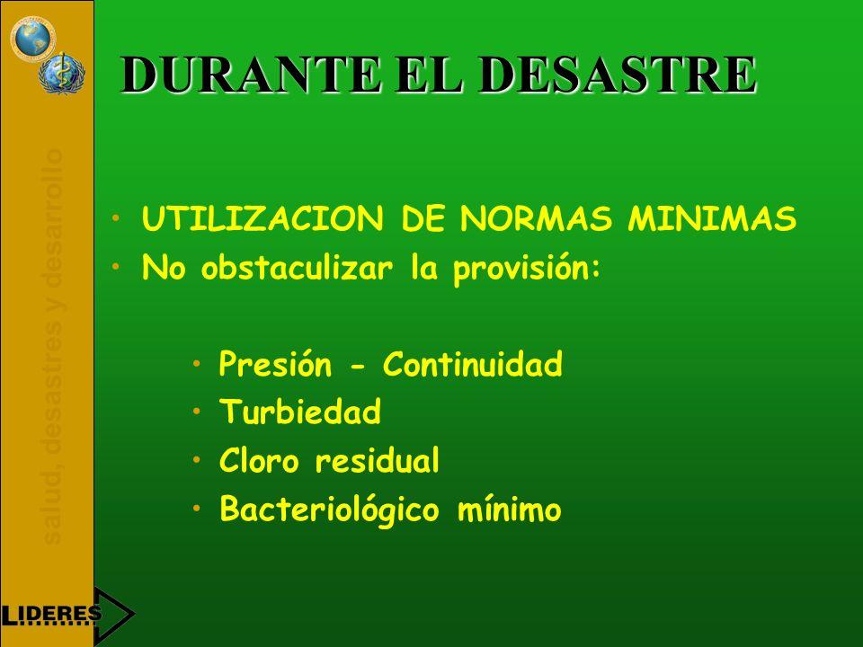 DURANTE EL DESASTRE UTILIZACION DE NORMAS MINIMAS