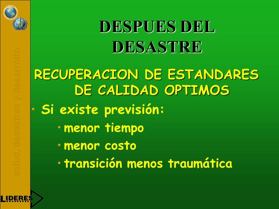 RECUPERACION DE ESTANDARES DE CALIDAD OPTIMOS