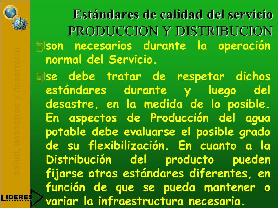 Estándares de calidad del servicio PRODUCCION Y DISTRIBUCION