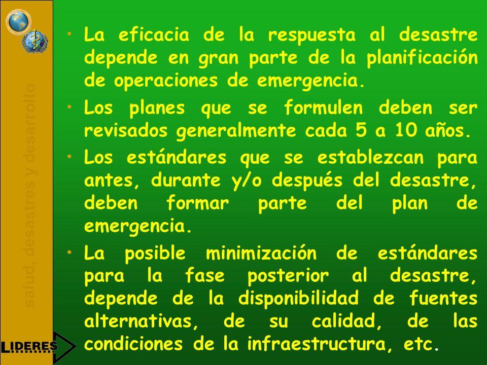 La eficacia de la respuesta al desastre depende en gran parte de la planificación de operaciones de emergencia.