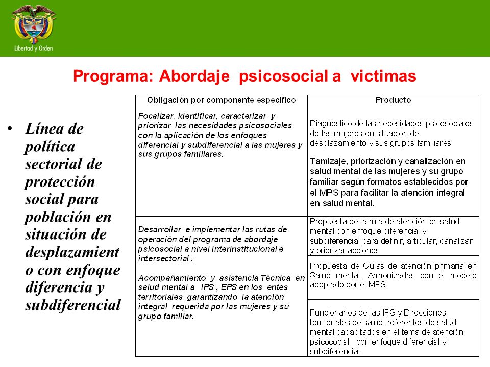 Programa: Abordaje psicosocial a victimas