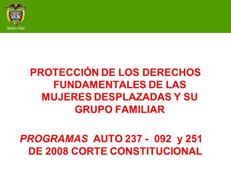 PROTECCIÓN DE LOS DERECHOS FUNDAMENTALES DE LAS MUJERES DESPLAZADAS Y SU GRUPO FAMILIAR