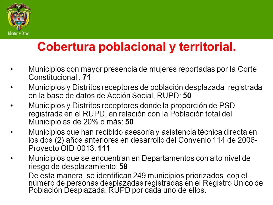 Cobertura poblacional y territorial.