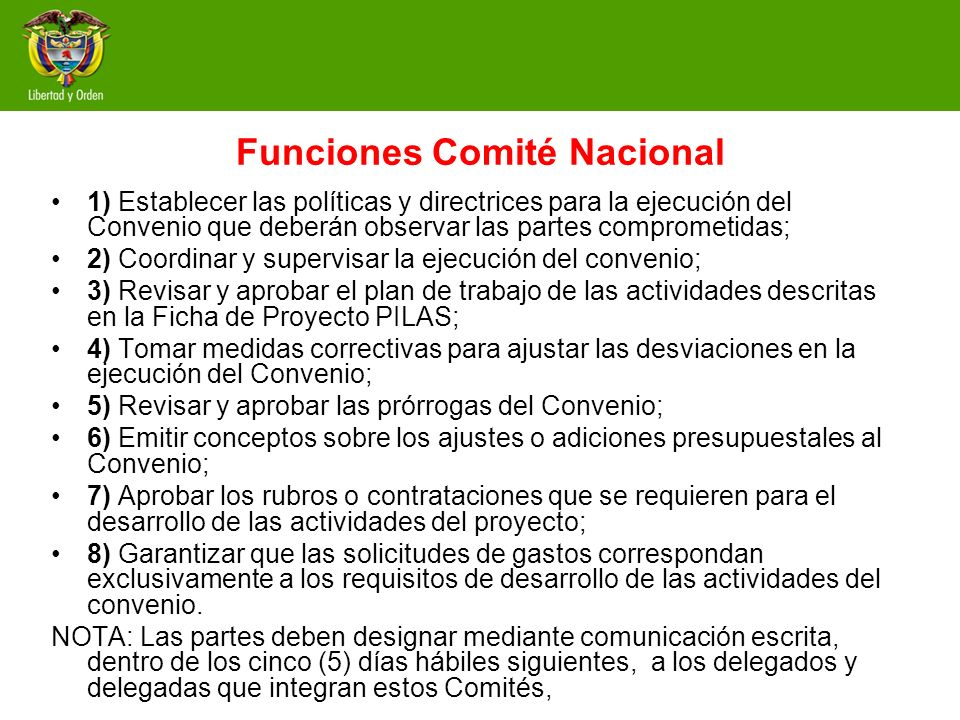 Funciones Comité Nacional