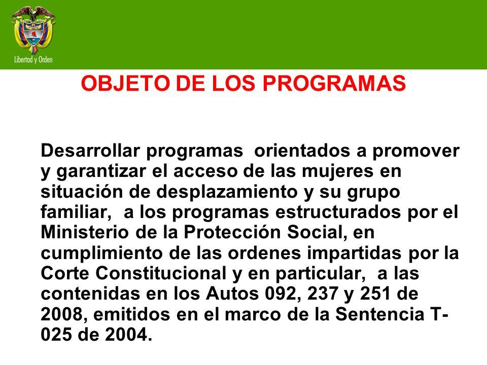 OBJETO DE LOS PROGRAMAS