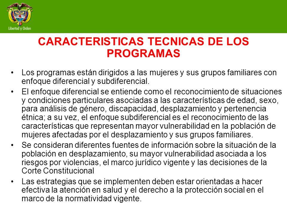 CARACTERISTICAS TECNICAS DE LOS PROGRAMAS