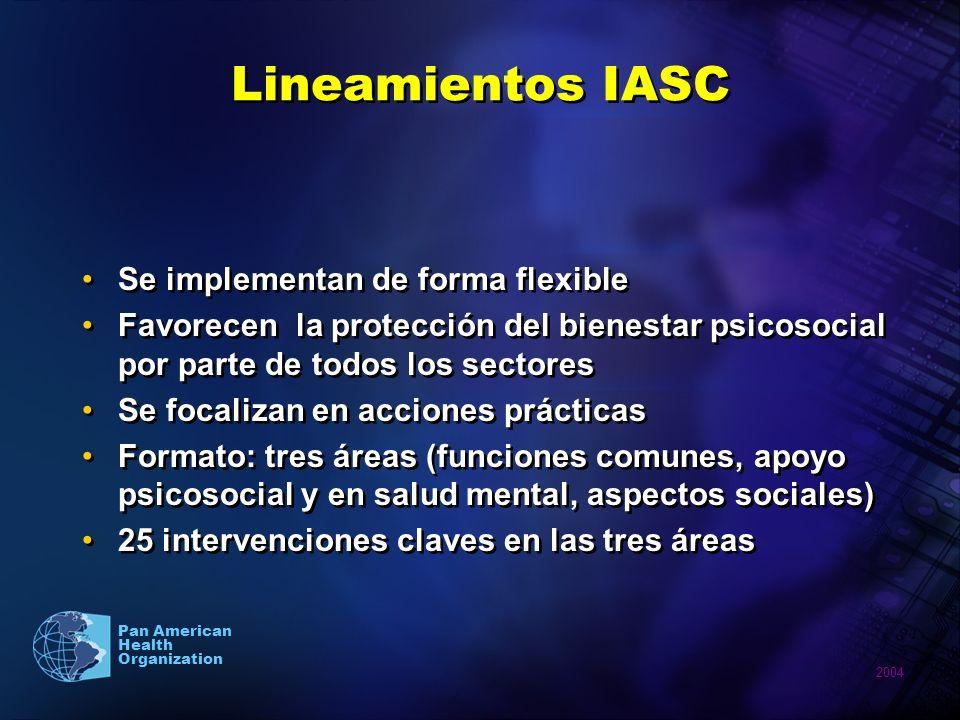 Lineamientos IASC Se implementan de forma flexible