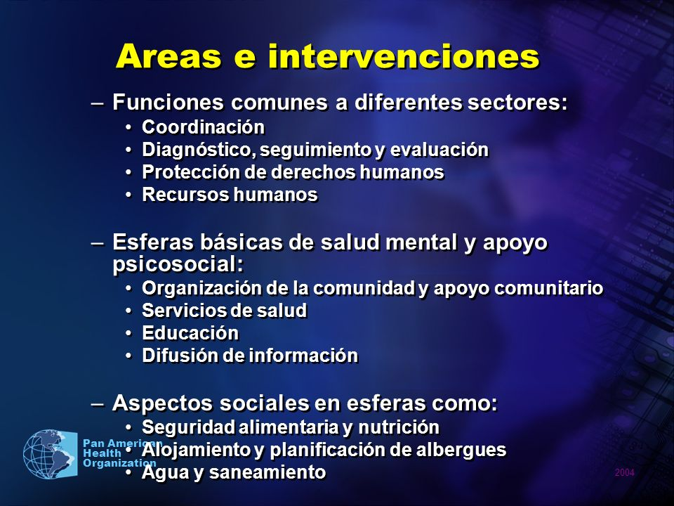 Areas e intervenciones