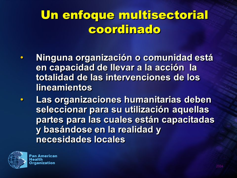 Un enfoque multisectorial coordinado