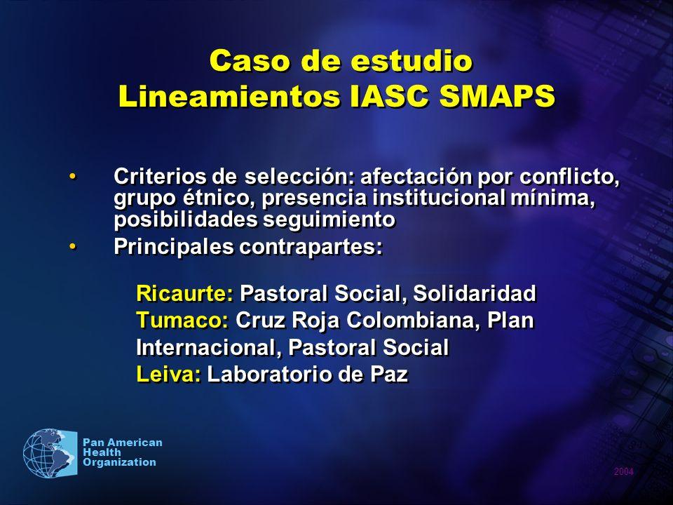 Caso de estudio Lineamientos IASC SMAPS