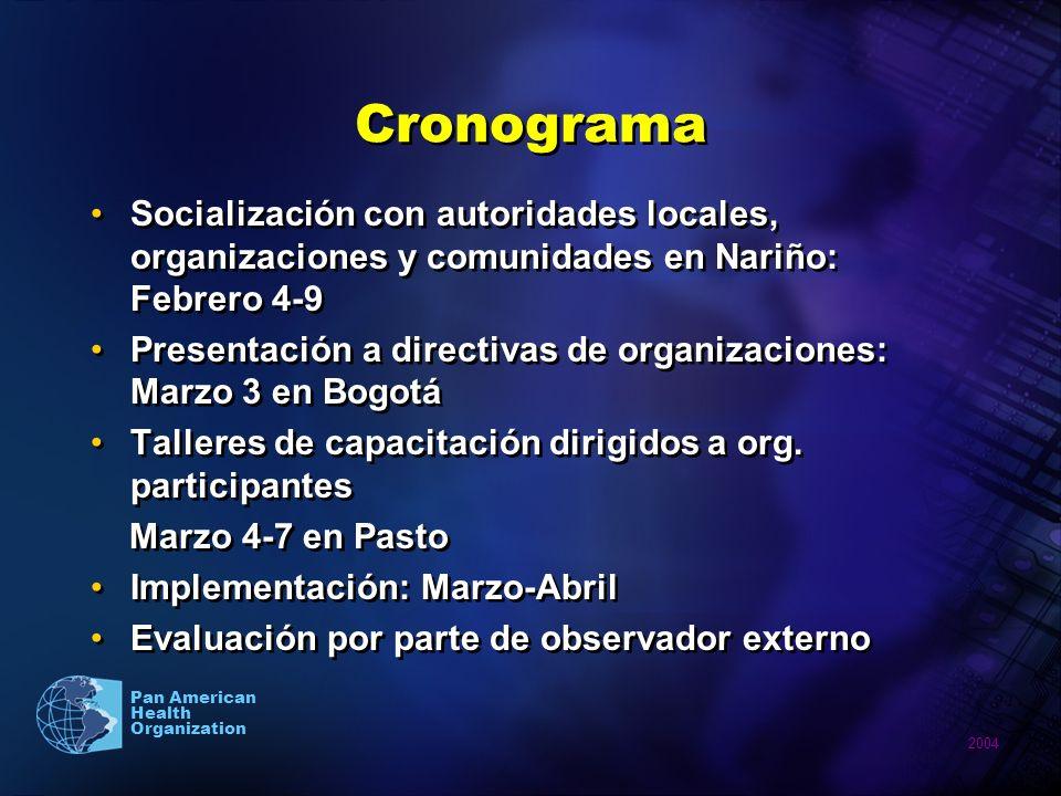 Cronograma Socialización con autoridades locales, organizaciones y comunidades en Nariño: Febrero 4-9.