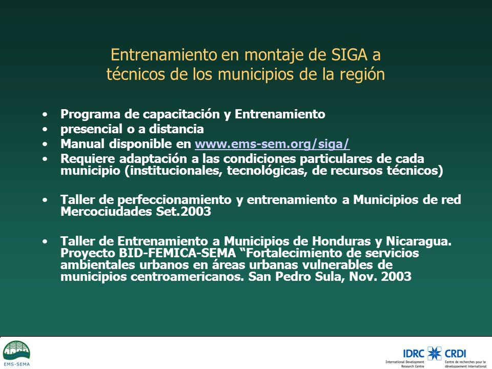 Entrenamiento en montaje de SIGA a técnicos de los municipios de la región