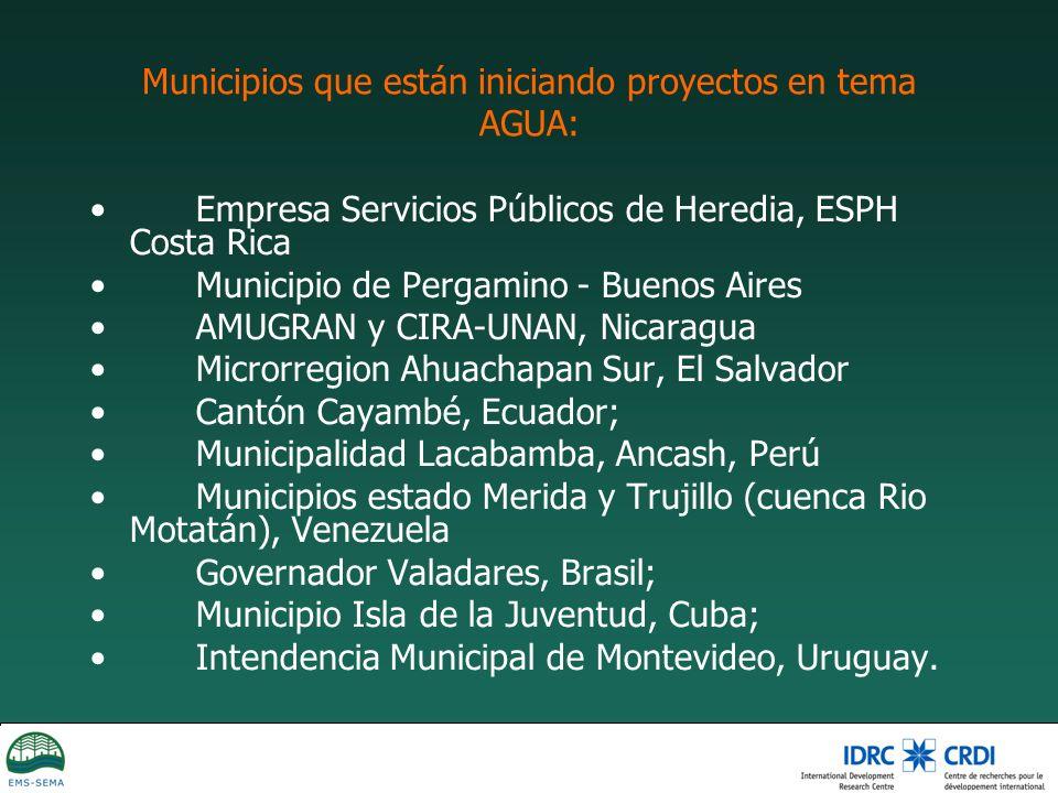 Municipios que están iniciando proyectos en tema AGUA: