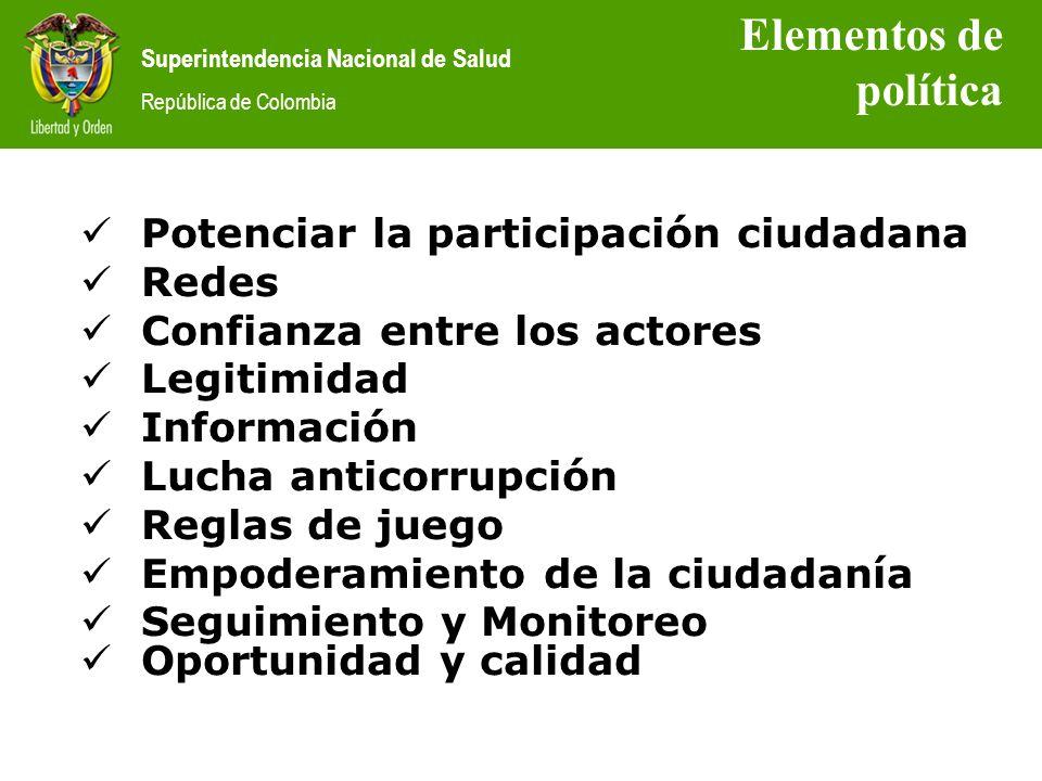 Elementos de política Potenciar la participación ciudadana Redes