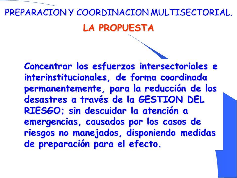 PREPARACION Y COORDINACION MULTISECTORIAL.