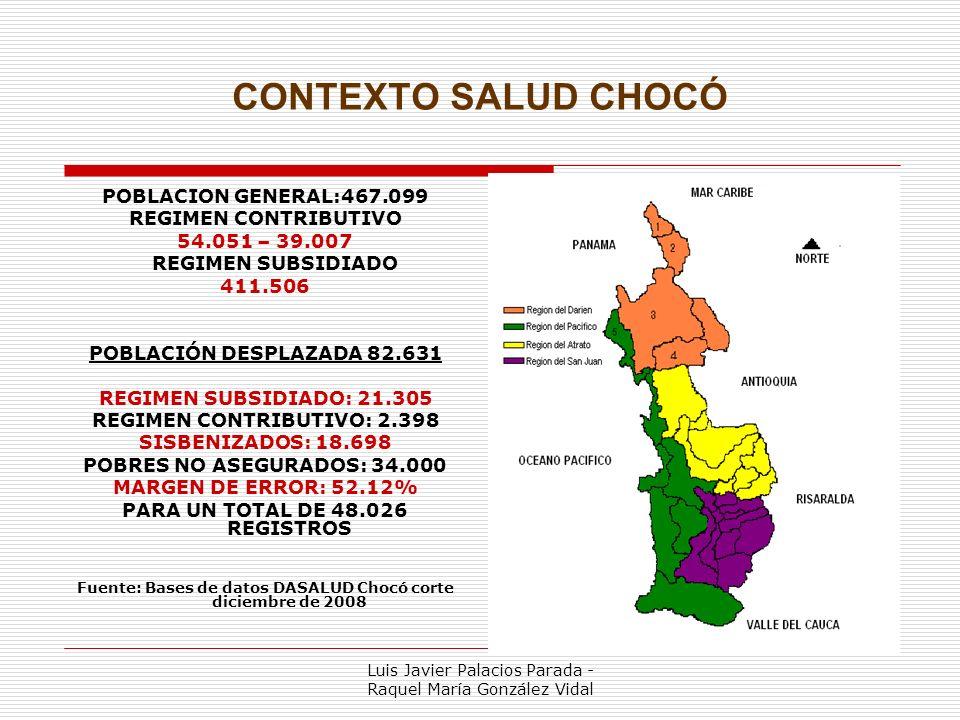 CONTEXTO SALUD CHOCÓ POBLACION GENERAL:467.099 REGIMEN CONTRIBUTIVO