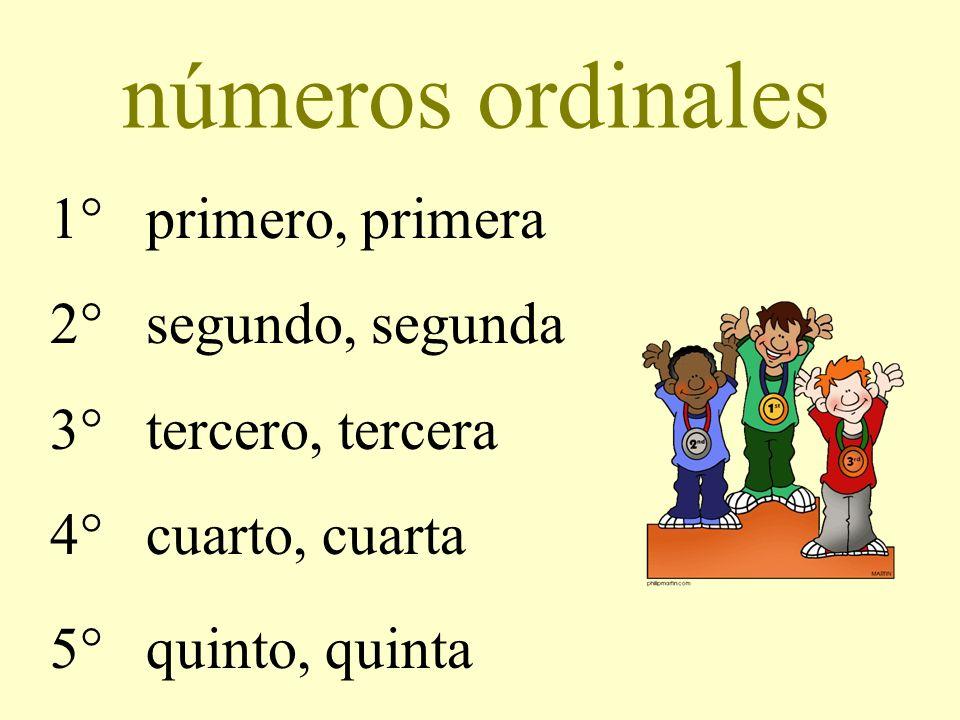 números ordinales 1° primero, primera 2° segundo, segunda