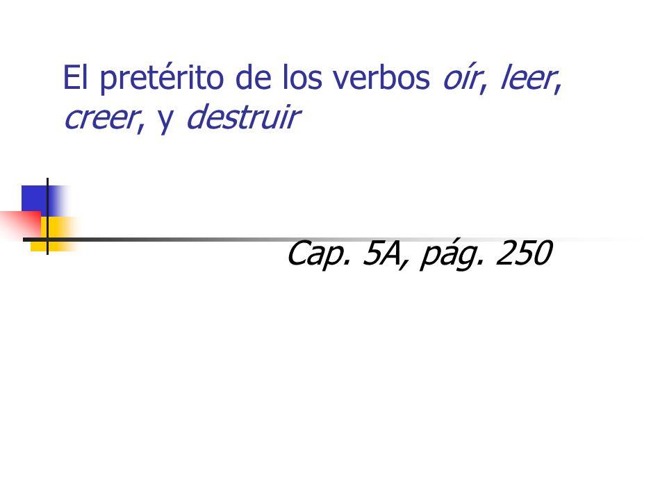 El pretérito de los verbos oír, leer, creer, y destruir