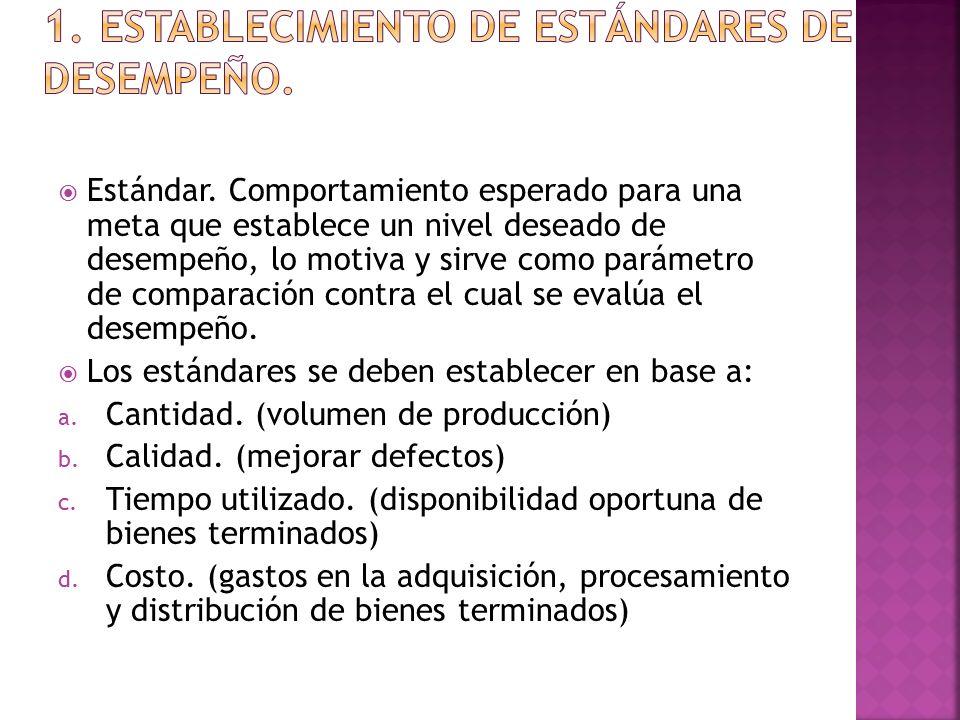 1. Establecimiento de estándares de desempeño.