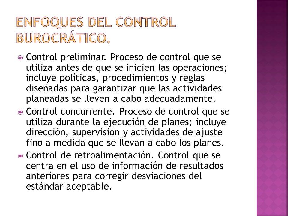 Enfoques del control burocrático.