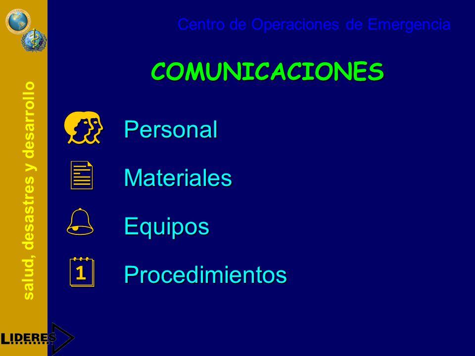 COMUNICACIONES Personal Materiales Equipos Procedimientos