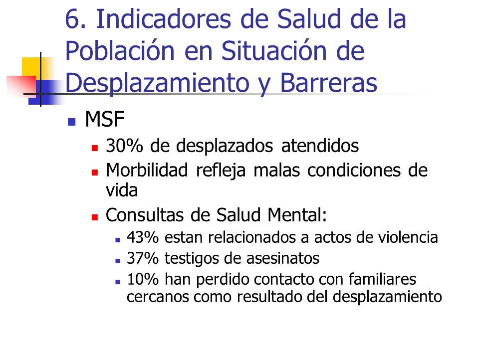6. Indicadores de Salud de la Población en Situación de Desplazamiento y Barreras